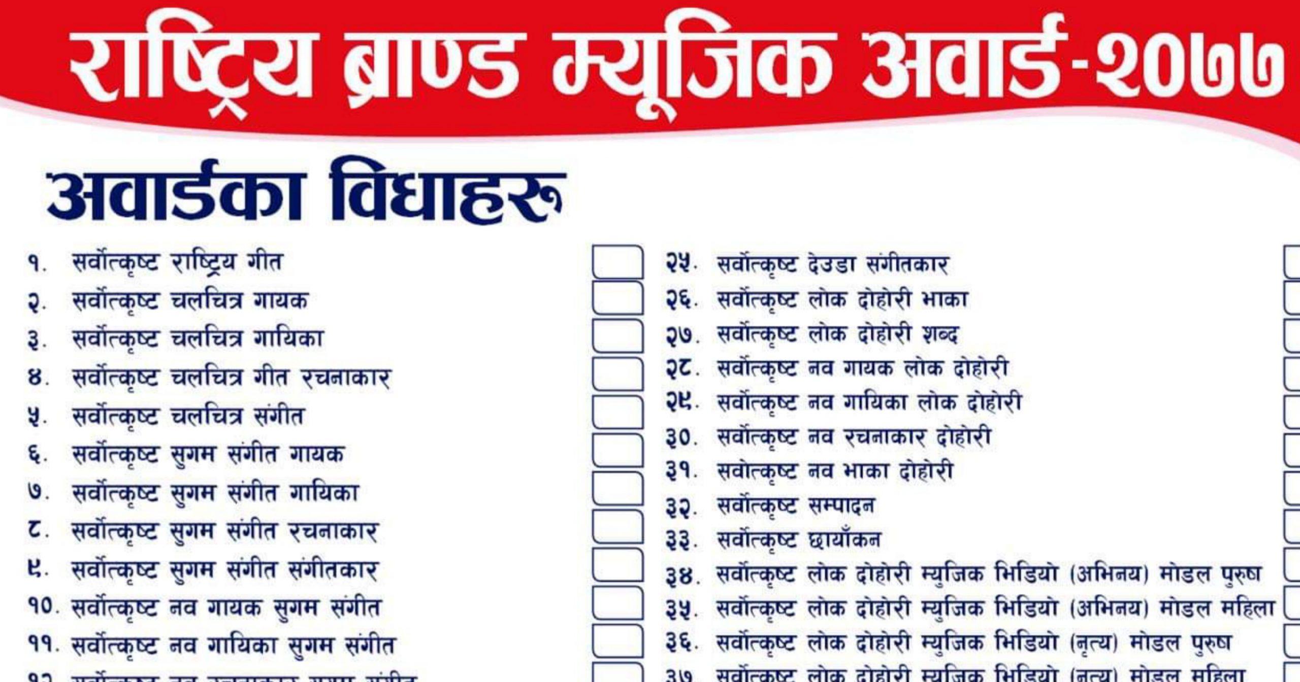 'राष्ट्रिय ब्रान्ड म्युजिक अवार्ड २०७७'को लागि ५१ विधामा फाराम खुल्ला